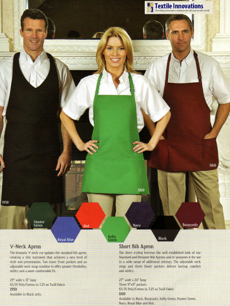 Bib Aprons, Premium, V-Neck Style, 2 Lower Pockets - AP1950