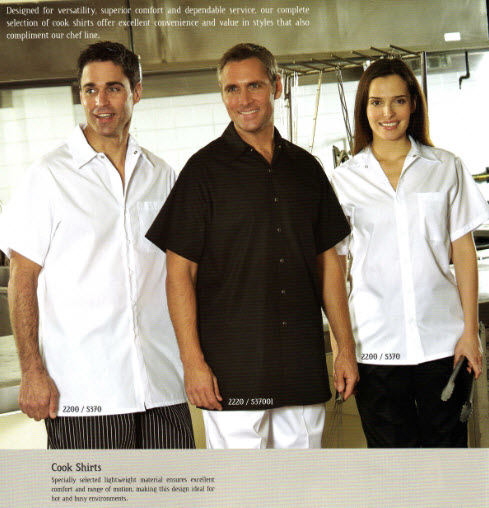 Cook Shirts, Premium, White - Poly/Cotton - No Pockets - FS2210