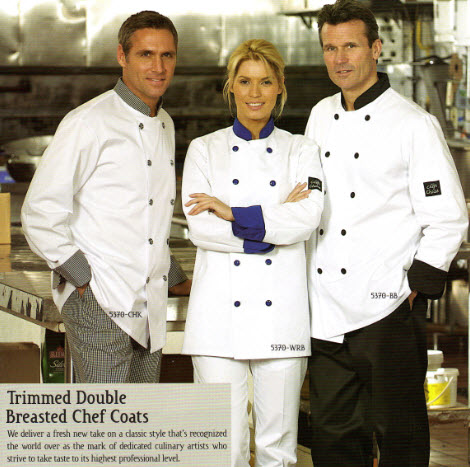 Chef Jacket, Premium, Contrasting Trim, Double Breasted - #5370