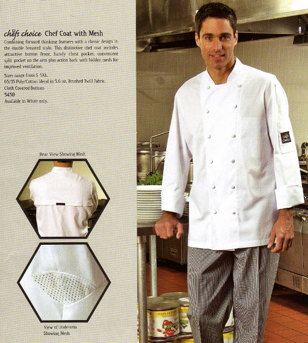 Chef Jacket, Premium,Ventilated Mesh, White - #5450