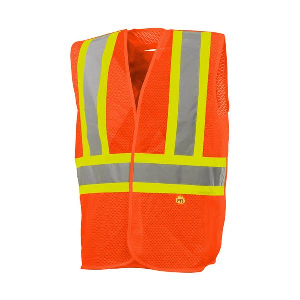 FIVE POINT TEAR-AWAY FIRE RETARDANT SAFETY VEST - SA59B42502 - Click Image to Close