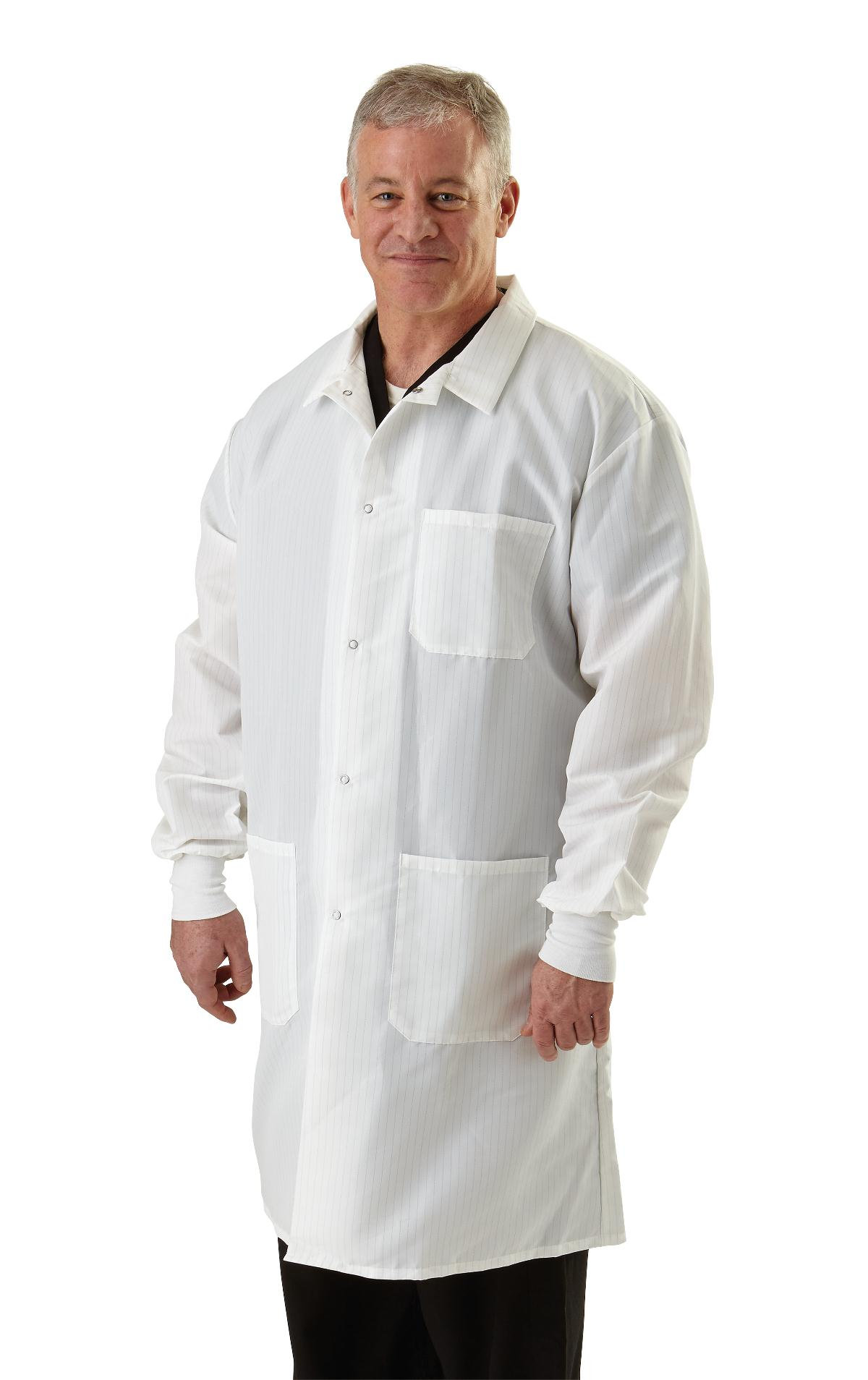 Unisex Barrier Lab Coat- Snap Closure - White
