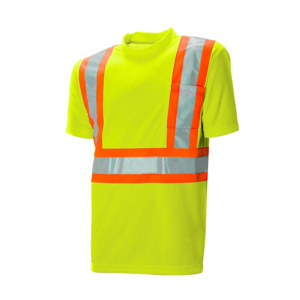 "HI-VIS S/S T-SHIRT - 4"" CONTRASTING TAPE WITH 2 - SAC59128102 - Click Image to Close"