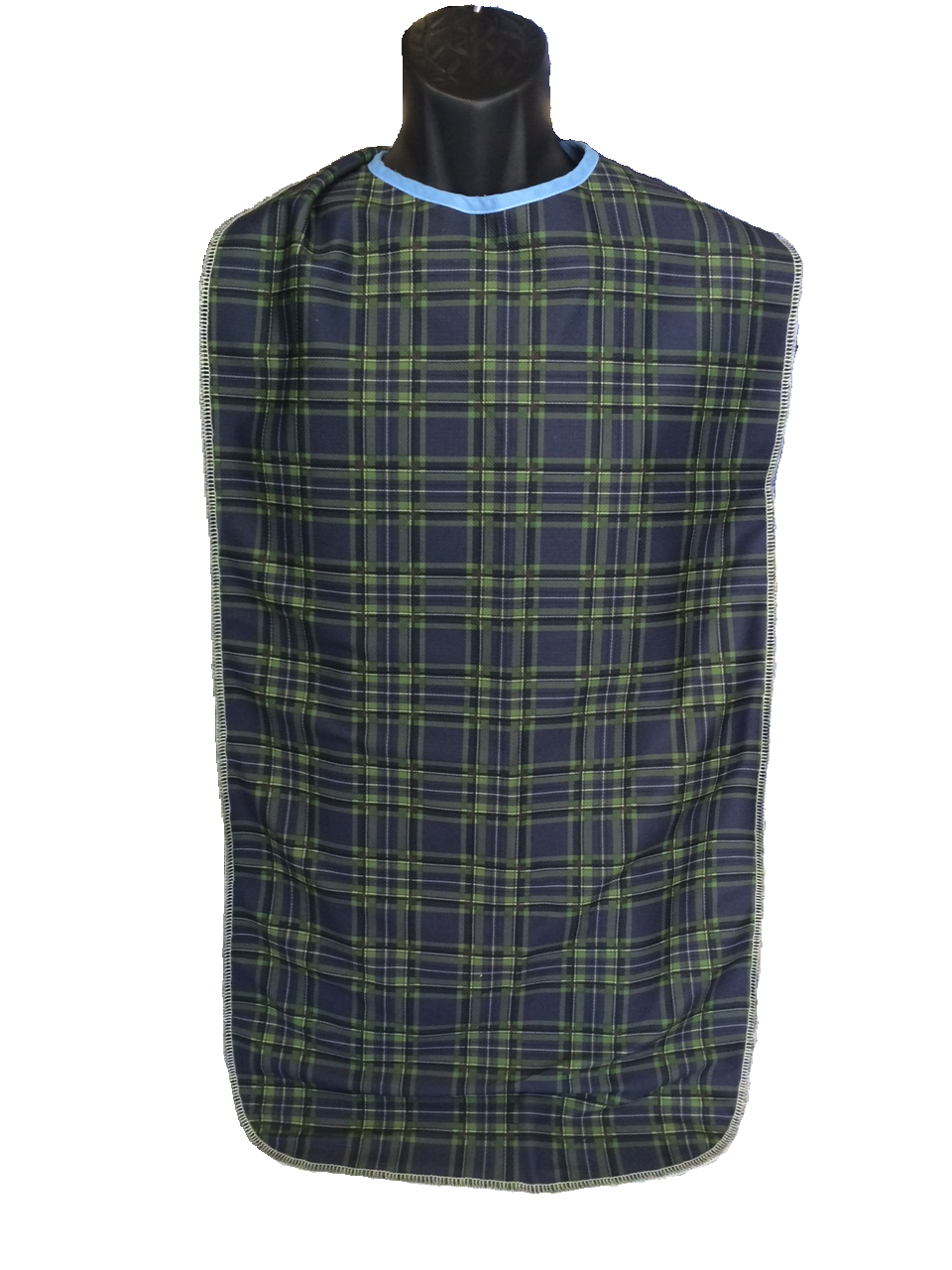 Adult Clothing Protector - 18x42 Rabbit Ear - Navy/Green Plaid