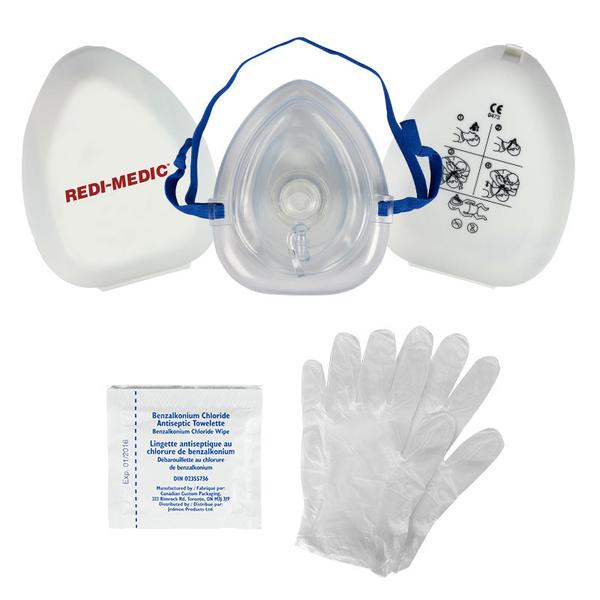 CPR COMPACT MASK, O2 INLET, CASE, GLOVES, WIPES-  CPR2