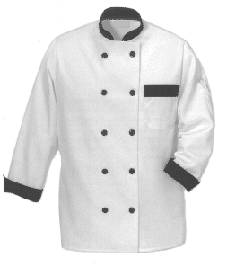 Chef Jacket, XG-Style - White with Black Trim