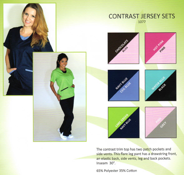 Contrast Trim Jersey Scrub Sets - MM1077