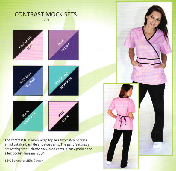 Contrast Trim Mock Scrub Sets - MM1091