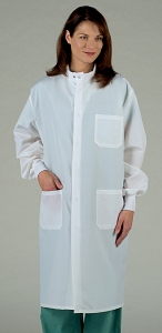 Unisex Barrier Lab Coat- Concealed Snap Closure - White
