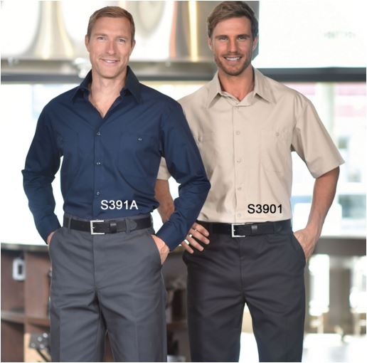 Work Shirts, Banded Collar, Premium 65/35 Polycotton - SAS391A