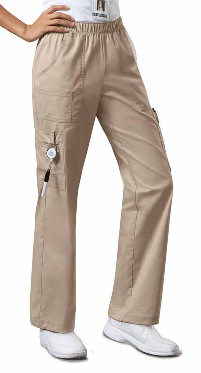 Clearance - Scrub Pants, Elastic Waist, Cargo Pocket, Khaki - Click Image to Close