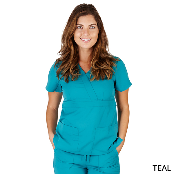 Ultra Soft Mock Wrap Scrub Top - Junior Fit - SC8115