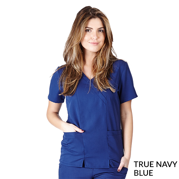 Ultra Soft Cross-Over Mock Wrap Scrub Top - SC8119