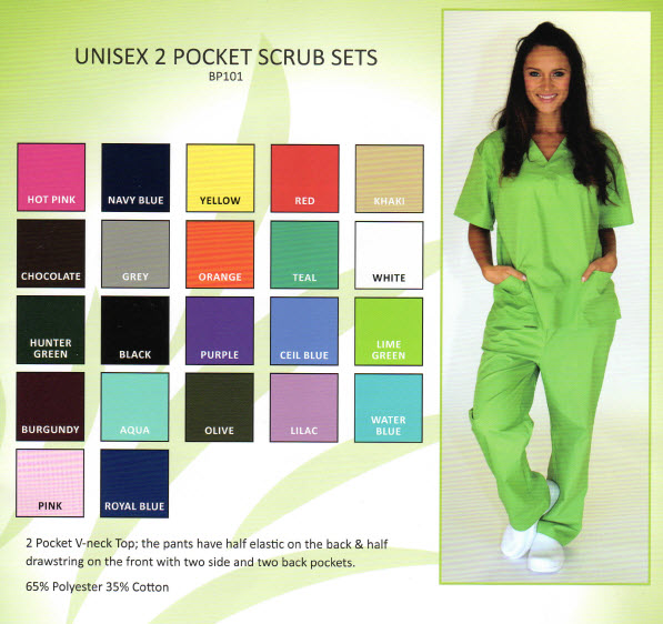 Fashion Two Lower Pocket Scrub Set - BP101