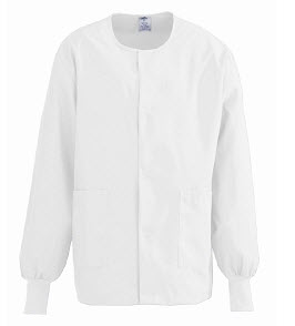 Clearance - Warmup Jackets - Snap Front, White - Medium