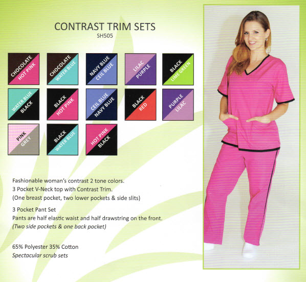 Fashion Scrub Set with Contrast Trim - TISH505