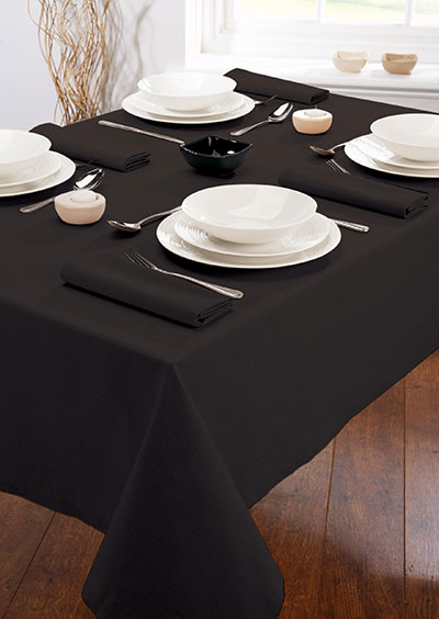 "Harmony® 85X85"" Polyspun Table Cloths - Black"