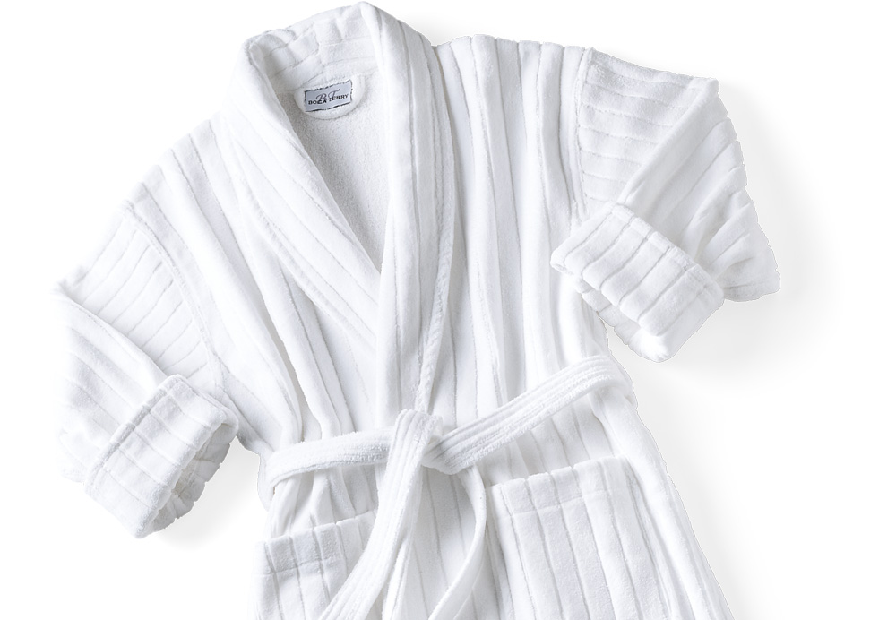 Bath Robe, Velour Jacquard Striped Shawl Collar