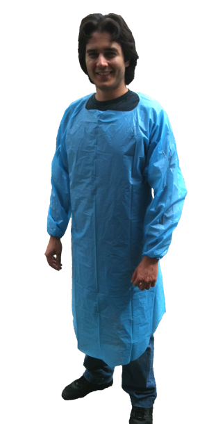 Disposable Apron Gown, Liquid Proof, Blue - 15 Box