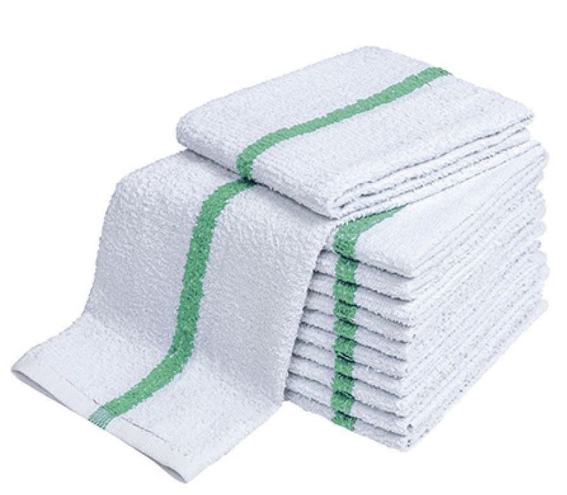 "Heavy Bar Wipe- 100% Cotton 18x20"" White - Green stripe"
