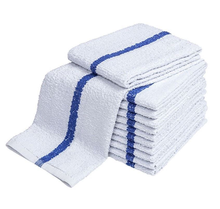 "Bar Wipe- 100% Cotton 18x20"" White - Blue stripe"