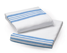Flannel Flat Sheets, 72X90 White with Striped Ends