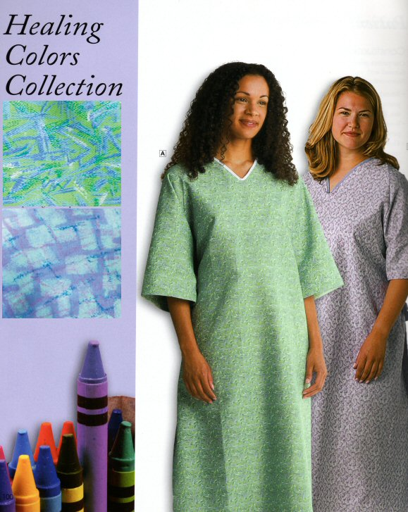 Patient Gown, Wingback, Green Print - Healing Colors
