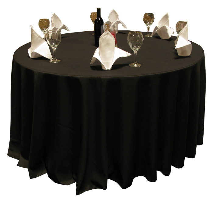 "Harmony® 120"" Round, Polyspun Table Cloths - Black"