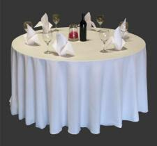 "Harmony® 132"" Round - Polyspun Table Cloths - White"