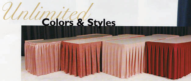 Table Skirting - Box Pleat Polyester Twill - Priced per Foot