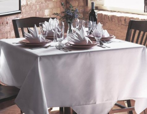 "Harmony® 120X120"" Polyspun Table Cloths - White"