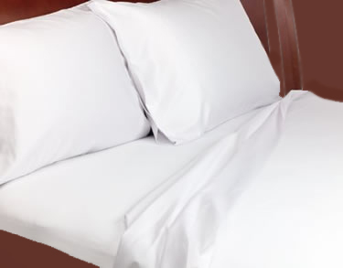 T200 - Luxury Percale Twin Flat Sheets - 72x104 - White