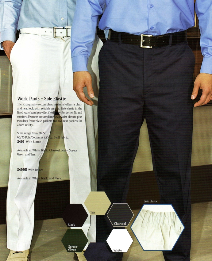 Work Pants, Premium Side Elastic - with Dome Closure - SAS40301
